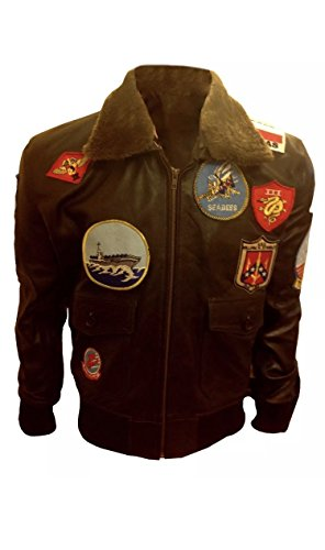 Tom Cruise Top Gun Pete Mavericks Bomber Brown Cow Leather Jacket (M, Synthetic)