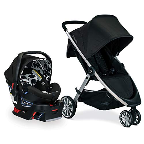 BRITAX B-Lively Travel System with B-Safe Ultra Infant Car Seat, 2 Layer Impact Protection, Cowmooflage (S09828600)