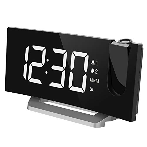 TOPELEK Projection Clock [Upgraded Model], Digital Alarm Clock with 4 Alarm Voice, Dual Alarm, 7'' Curved-Screen FM Radio Alarm Clock with Dimmer, Snooze Mode, Sleep Timer, USB Charging Port, White -  8541848143