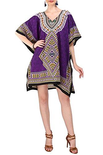 - Miss Lavish Women's Short Kaftan Kimono Tunic Dress Evening Free Size Purple