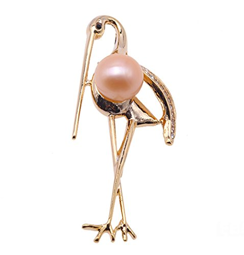 JYX Crane Brooch Pin 11.5mm White Freshwater Pearl Brooch Scarf Dress Elegant Accessory Jewelry Remembrance Day Gifts