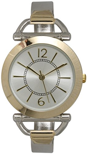 (Metal Ladies Bangle/Cuff Watch with Dash Numbering and Special Bangle Design (Two Tone))