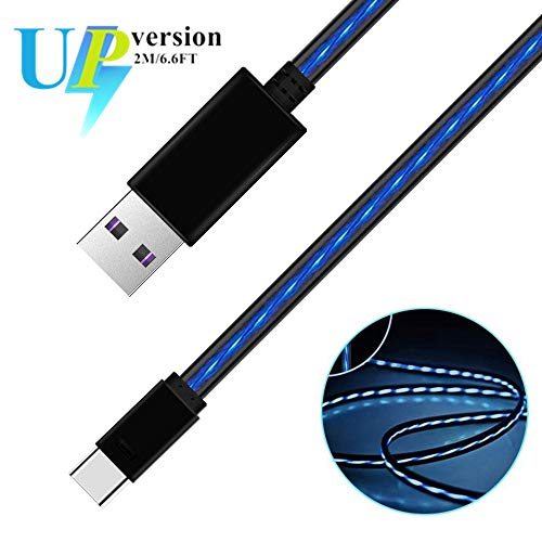 iCrius 6ft Visible Flowing LED Light Type C Cable Fast Charging USB 3.0 to C Charger Cord for Samsung Galaxy S10 S9 Note 9 8 S8 Plus, LG V30 V20 G6 G5, Google Pixel, Nintendo Switch, MacBook (Blue)