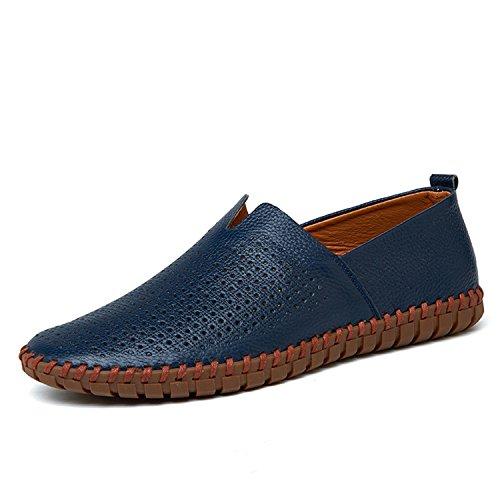 Breathable Mocasines Hombre Zapatos Soft Hombres Blue On Zapatos Hechos Slip Mano Mocasines Hollowed de a Genuino Zapatos Flats Cuero Shoes AS75xSwq