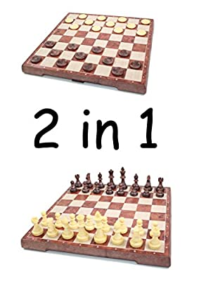2 in 1 Faux Wooden Look Folding Magnetic Board Chess and Checkers Game Set
