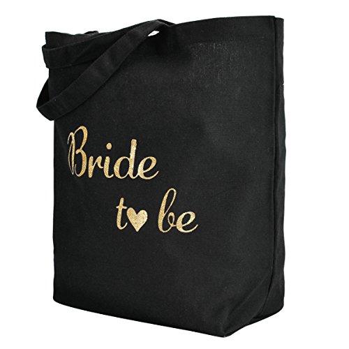 Bride à be moyen Tote Femmes faveur cadeau to Packs Sac Naturel Bags de Bridesmaids Elegantpark mariage Noir 3 100 Coton xSBHwTq8