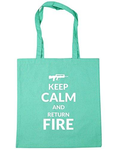 HippoWarehouse Keep calm and Fire de retorno de y bolsa de la compra bolsa de playa 42cm x38cm, 10litros verde menta