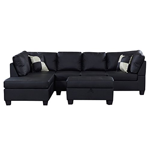US Pride Sierra Leatherette Sectional Sofa with Storage Ottoman, Left, Black