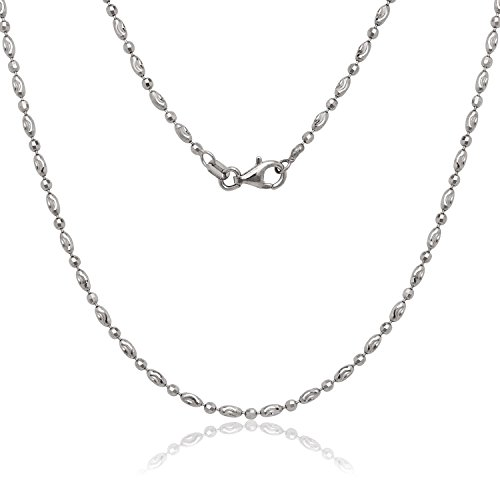 (NYC Sterling Italian Moon Cut Oval and Round Bead Chain in Solid Sterling Silver (20