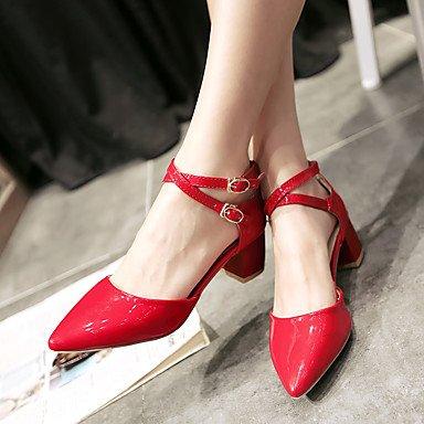 LvYuan Mujer-Tacón Robusto-Otro-Sandalias-Oficina y Trabajo Informal Fiesta y Noche-Cuero Patentado-Negro Rosa Rojo Blanco Red