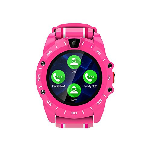 Markrom V19 Kids Smart Watch Phone,Round Touch Screen Wearable Phone Watches for Children Girls With SOS Call,Sim Card,Messaging,Music,Camera,Pedometer,Customize Menu and Boot Background(Pink) by Markrom