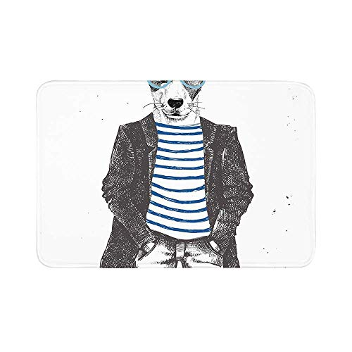 C COABALLA Quirky Decor Durable Door Mat,Dressed Up Hipster Dog with Glasses Hand Drawn Sketchy Fashion Animal for Living Room,17.7