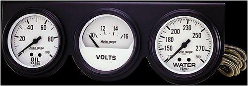 """Autometer 2328 2-5/8"""" 3 GAUGE CONSOLE, OIL/WATER/VOLT, BLACK"""