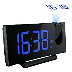 Atmoko Digital Projection Clock, FM Radio Alarm Clock with USB Charging Port, Dual Alarms, Snooze Function, [Curved-Screen] 5-inch Large LED Display with Dimmer, 12/24 Hours, Backup Battery