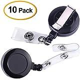 Kuuqa Retractable Badge Reel Badge Holder Reel Clip for ID Badge Holder (Set of 10)