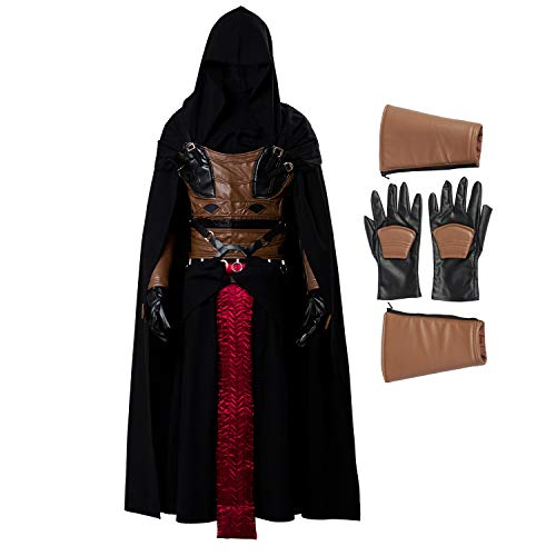Men's Darth Revan Cosplay Costume Full Set Outfits Halloween Tunic Hooded Robe Knight Costume