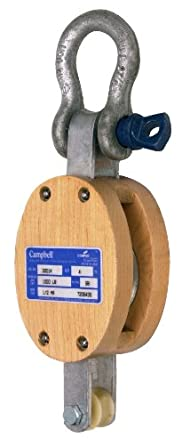 "Campbell 3001K 8"" Single Regular Wood Shell Block with K Screw Pin Anchor Shackle, 2800 lbs Load Capacity, 1"" Rope, 4-3/4"" Sheave"