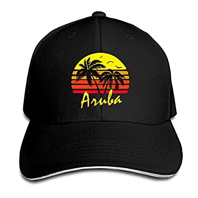 Aruba Retro Sunset Sandwich Cap Baseball Cap Hats Adjustable Trucker Cap