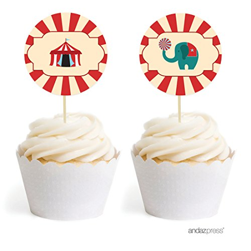 (Andaz Press Carnival Circus Birthday Collection, Cupcake Topper DIY Party Favors Kit,)