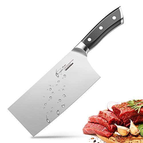 7'' Cleaver, Chinese Butcher Knife German High Carbon Stainless Steel Kitchen Knife with Ergonomic Handle for Kitchen and Restaurant by SKY LIGHT