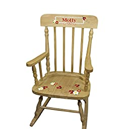 Personalized Wooden Ladybug Red Rocking Chair