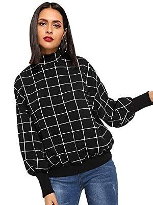 Floerns Women's Mock Neck Long Sleeve Plaid Sweatshirt Pullover