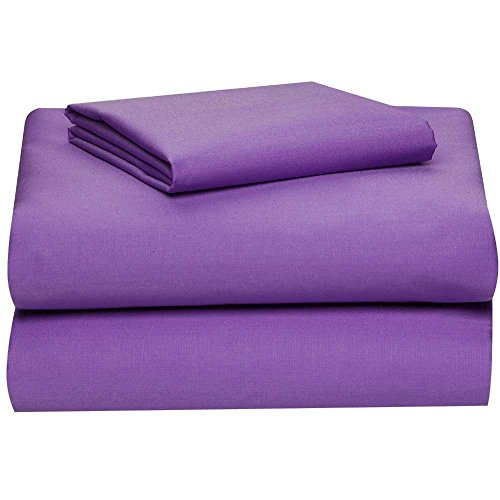 Twin Extra Long 100% Cotton jersey Sheet Set - Soft and Comfy - By Crescent Bedding  Plum Twin XL