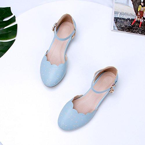 GAOLIM Baotou Sandalias De Verano Femenina De Fondo Plano Con Gruesos Ranurados Para Zapatos De Mujer Estudiante Solo Zapatos Hueco El azul