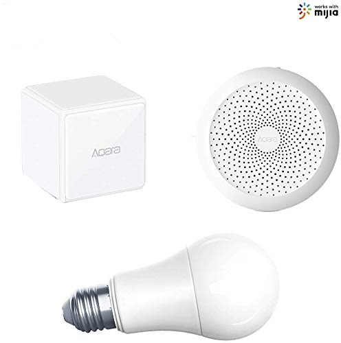Homekit de Seguridad para Aqara Smart Home 3,Alarmas para el Smart Gateway, Controlador de Cubo Aqara Magic, Aqara LED Bombilla(1XGateway+1xController+1X Aqara LED Bombilla)