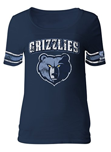 NBA Memphis Grizzlies Adult Women Ladies Baby Jersey Short sleeve with Printed sleeve stripes,XL,Navy