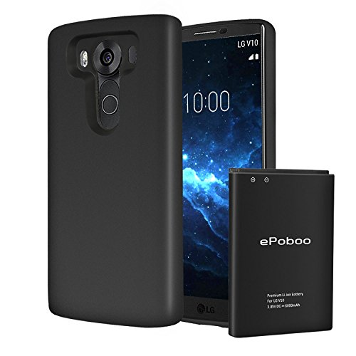 Price comparison product image V10 Extended Battery [6000mAh] V10 Battery with Cover (2X Extra Battery Power) for LG V10, H960A, H900,VS990, LS992[24 Month Warranty]