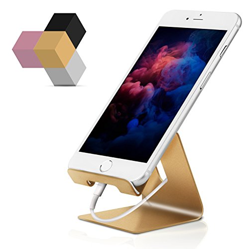 Cell Phone Stand, Portable Aluminum Desktop Cradle Holder Universal Smart Phone Dock for Tablets iPhone X 8 7 6 6s Plus Se 5 5s 5c iPad mini Samsung Galaxy Google Pixel Nintendo Switch Android,Gold
