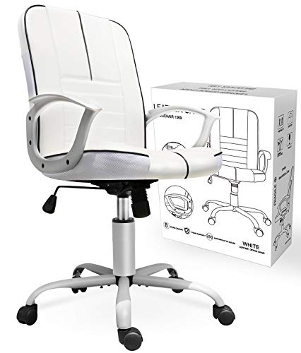 Smugchair Office Ergonomic Office Chair Executive Bonded Leather Computer Chair,White