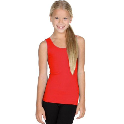 Girls Ribbed Tank - Sugarlips Girl's Ribbed Seamless Tank-Red
