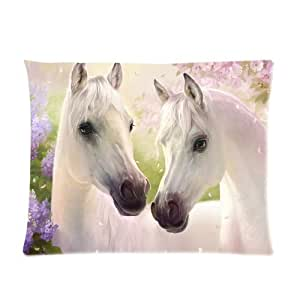 Generic Personalized Pure White Horse for Picture Pillowcase 26x20 inches (one side)