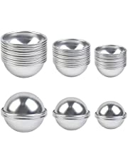 BUYGOO 30pcs 3 Size Bath Bomb Molds, 15 Set DIY Metal Mold & Bath Bombs Press for DIY Making Supplies