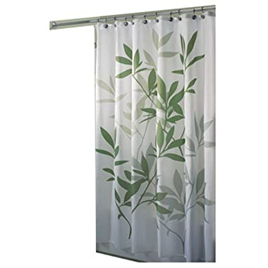 InterDesign 35630 Leaves Fabric Shower Curtain - Standard, 72  x 72 , Green/White