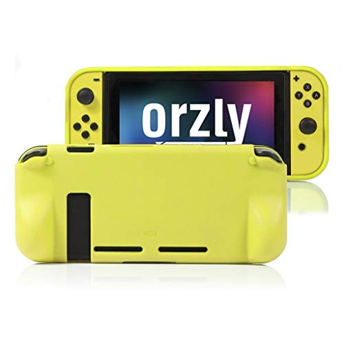 Orzly Comfort Grip Case for Nintendo Switch - Protective Back Cover for use on The Nintendo Switch Console in Handheld Gamepad Mode with Built in Comfort Padded Hand Grips - Solid Black