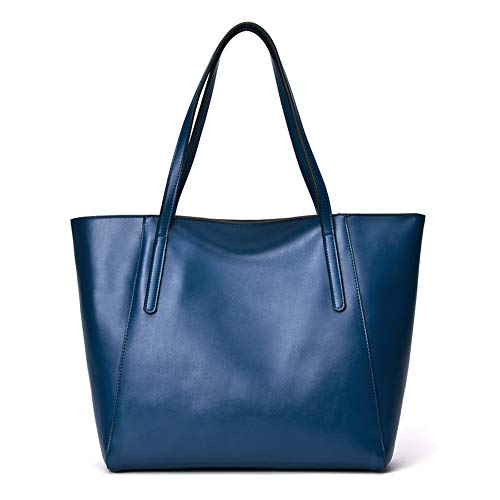 CHERRY CHICK Women's Genuine Leather Tote Shopping Bag Large Purse Hot Gift (Matt Blue-9816)