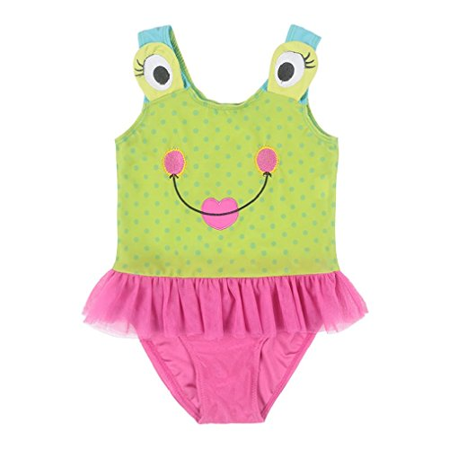 [Suzzo 2-9Y Baby Girls Kids Ballet Dance Dress Pink Green Frog Dancesuit Gymnastic Leotards Cotton Cartoon Swimwear Costume] (Frog Swimming Costume)