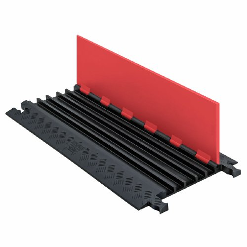 Guard Dog GD5X75-ST-O/B Polyurethane Heavy-Duty 5-Channel Low-Profile Cable Protector with Standard Ramp, Orange Lid with Black Ramp, 36'' Length x 16.9'' Width x 1.25'' Height by Checkers Industrial Safety Products