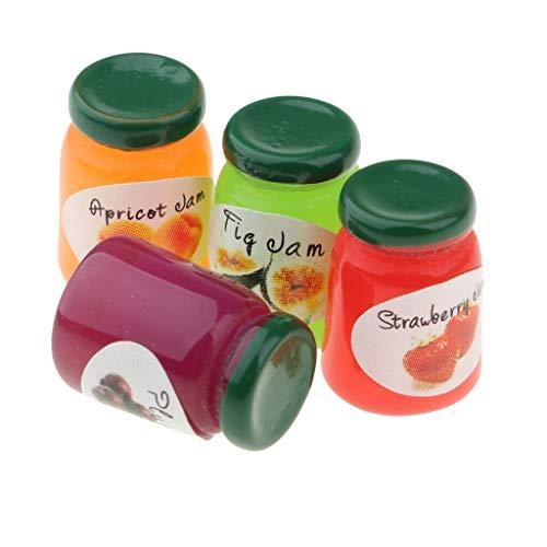 NATFUR 4 Bottles Canned Fruit Jam Dollhouse Miniatures Kitchen Food Display Supply
