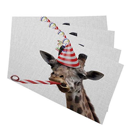 Mugod Placemats Funny Giraffe Party Animal Making a Silly Face and Blowing a Noisemaker Decorative Heat Resistant Non-Slip Washable Place Mats for Kitchen Table Mats Set of 4 12