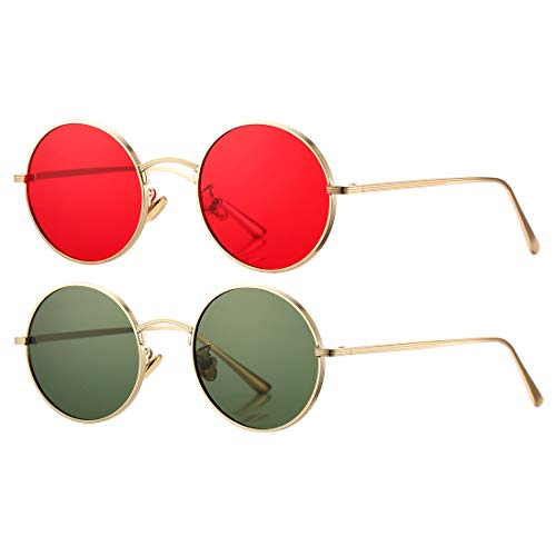 COASION Vintage Round Metal Sunglasses John Lennon Style Small Unisex Sun Glasses (Gold Frame/Red Lens + Gold Frame/G15 Lens)