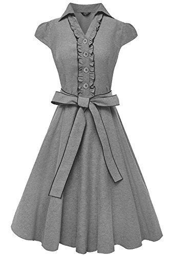 Buy belted full skirt dress - 1
