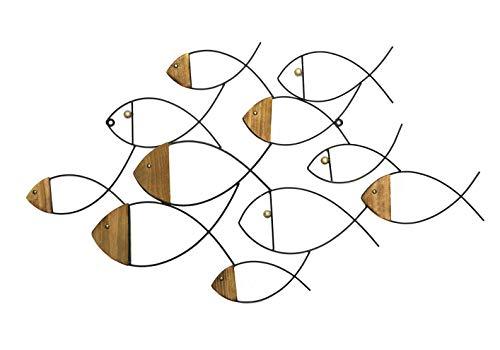 Bellaa 23882 Fish Wall Decor Metal Wood Sculpture 38