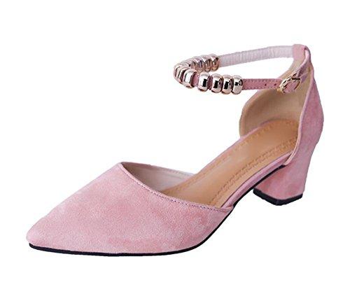 Baotou dick mit Frau Sandalen Fußring Riemchen-Sandalen Sommer Sandalen und Pantoffeln Schuhe Metallkette Pink