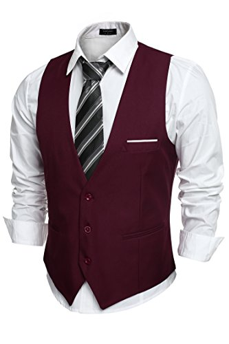 COOFANDY Mens V-Neck Sleeveless Business Suit Vests Slim Fit Wedding Waistcoat,Type-02 Wine Red,X-Large