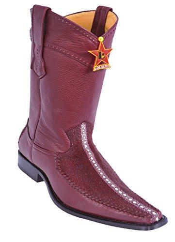 Toe Narrow Men's Los Skin Boots Altos Rowstone Leather Rowstone Genuine Burgunday Western Square Stingray wqBqFEI