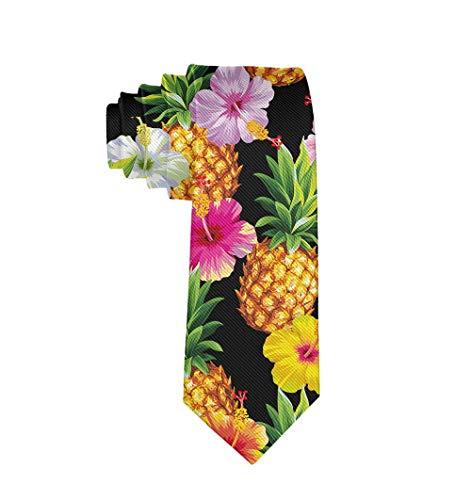 (MrDecor Tropical Pineapple Men's Printed Floral Etiquette Gentleman Neck Tie)